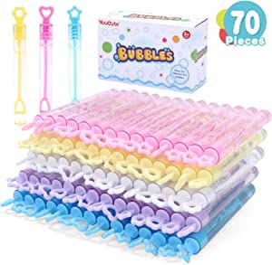 YouCute Mini Bubble Wand 70 Pack Toys Bubbles Party Favors for Kids Bulk Bubble Party Supplies, Spring Summer Autumn Outdoor Indoor Activity use Birthday Festival Fun Gift