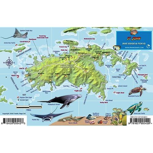 British Virgin Islands Adventure /& Dive Guide Franko Maps BVI Waterproof Map