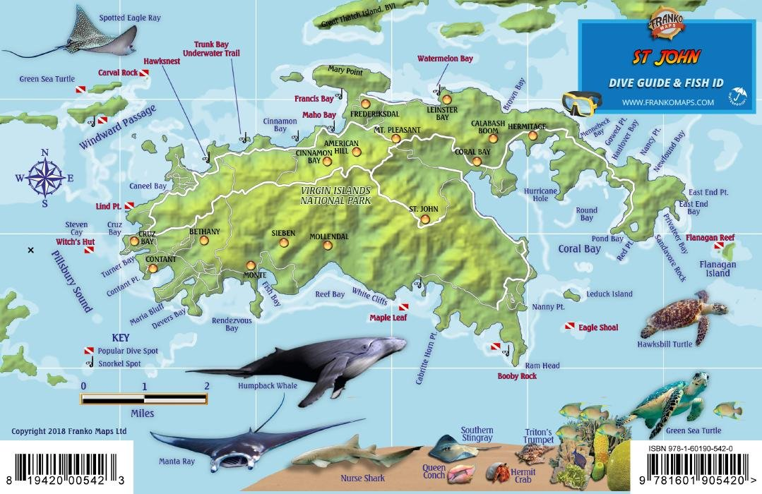 St. John USVI Dive Map Fish ID Virgin Islands Franko Maps ...