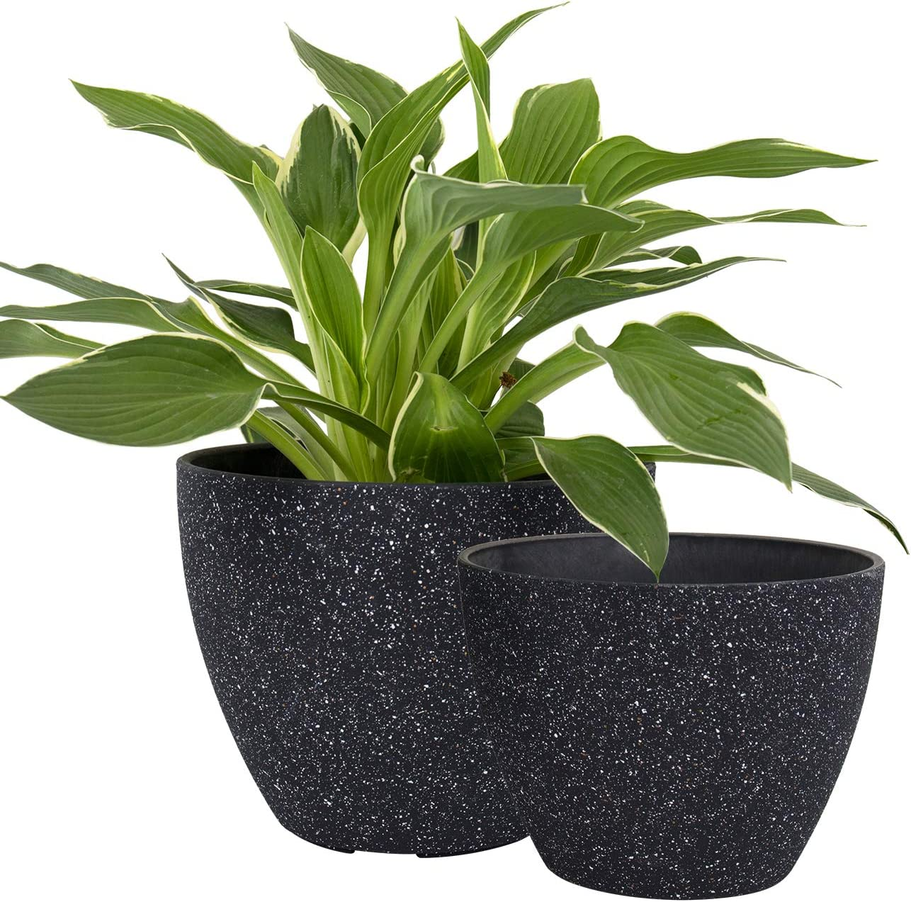 Flower Pots Outdoor Indoor Garden Planters, Plant Containers with Drain Hole, Speckled Black (8.6 + 7.5 Inch)