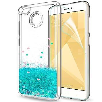 LeYi Funda Xiaomi Redmi 4X Silicona Purpurina Carcasa con HD Protectores de Pantalla, Transparente Cristal Bumper Telefono Gel TPU Fundas Case Cover ...