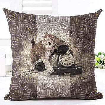 glareshop patrón de perro gato lino manta funda de almohada sofá cama casa coche decoración cojín, Lino, 5#, One Sizde: Amazon.es: Hogar