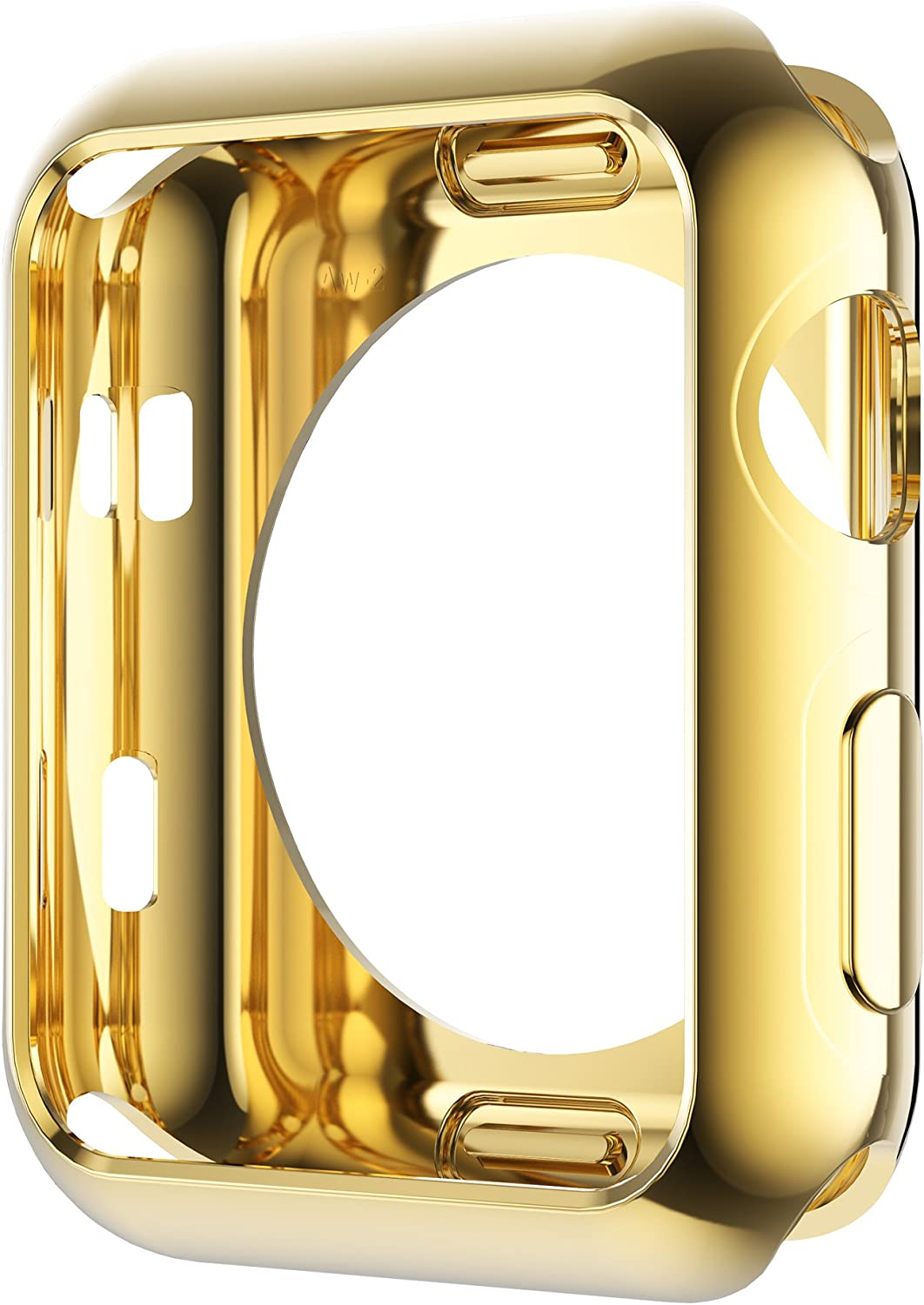 Leotop Compatible with Apple Watch Case 44mm 40mm, Soft Flexible TPU Plated Protector Bumper Shiny Cover Lightweight Thin Guard Shockproof Frame Compatible for iWatch Series 6 5 4 SE(1-Gold, 44mm)
