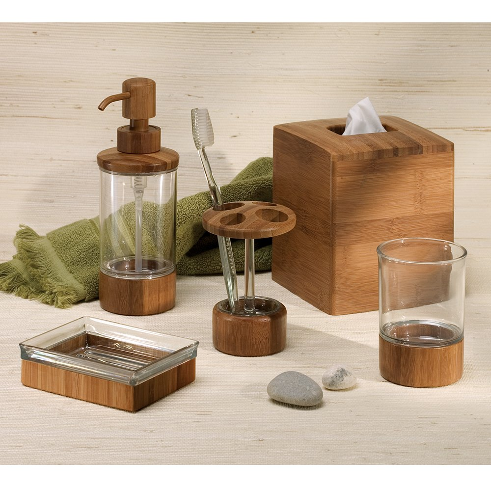 Bamboo countertops bathroom - Amazon Com Interdesign Formbu Bath Collection Facial Tissue Box Holder Decorative Box Cover For Bathroom Bedroom Or Office Bamboo Home Kitchen