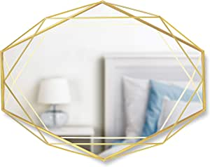 Amazon Com Umbra Prisma Modern Geometric Shaped Oval Mirror Wall Decor For Bedroom Bathroom Living Dining Room Large Size Brass Home Kitchen