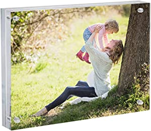 Acrylic Magnetic Photo Picture Frame Clear Double Sided Frames Pack Desktop Holder 8 x 10 Inches Display Photos on Both Sides with Base Stand Great for Gifts