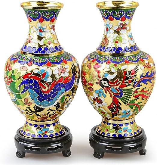 Fine Chinese cloisonne dragon /& phoenix vase collection