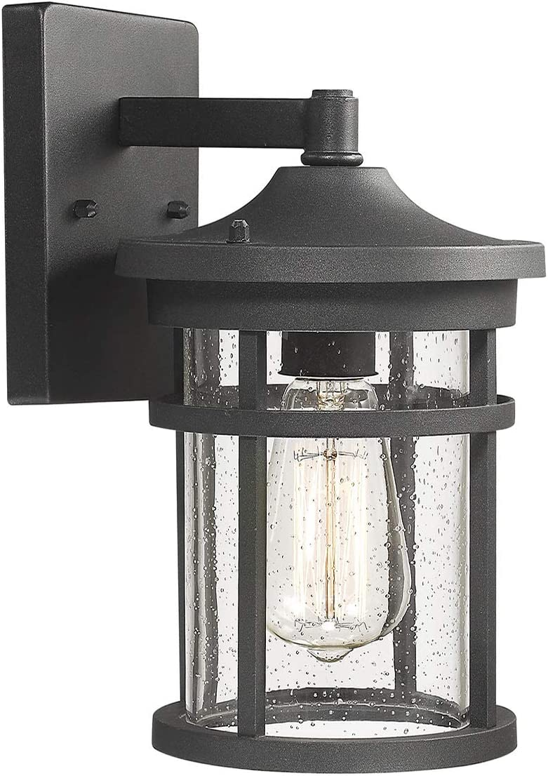 Bestshared Outdoor Wall Mount Light Fixture, 1-Light Wall Sconce Mounted Light, Exterior Wall Lanternwith Seeded Glass Shade (Black)