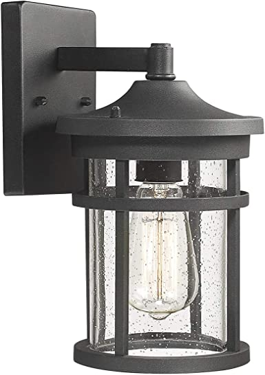 Bestshared Outdoor Wall Mount Light Fixture 1 Light Wall Sconce Mounted Light Exterior Wall Lantern With Seeded Glass Shade Black Amazon Com