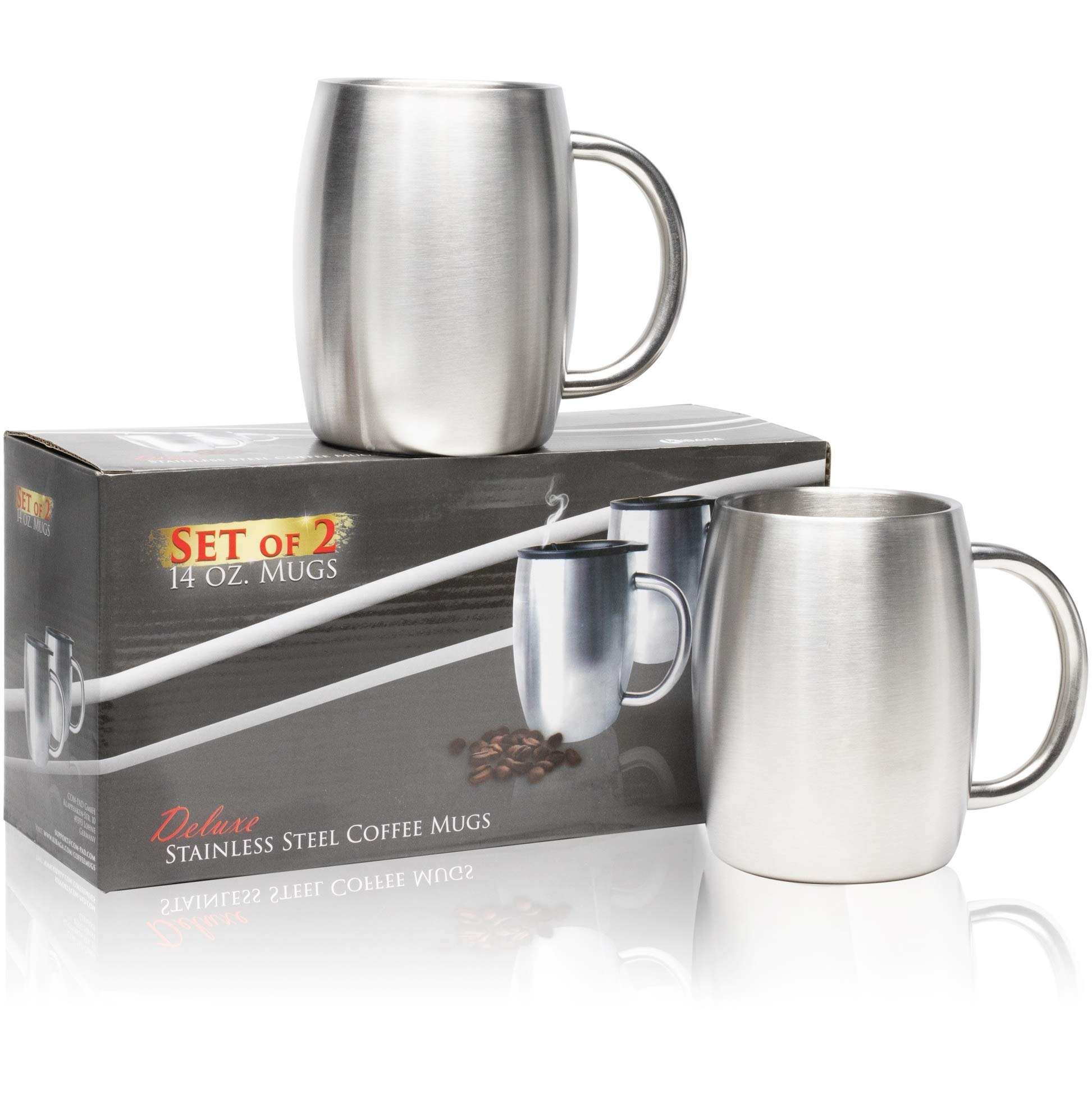 Stainless Steel Coffee Mug With Lid Set Of 2 - Double Wall Insulated Coffee Mugs - 14 Oz Stainless Steel Coffee Cups - Perfect For Hot & Cold Drinks