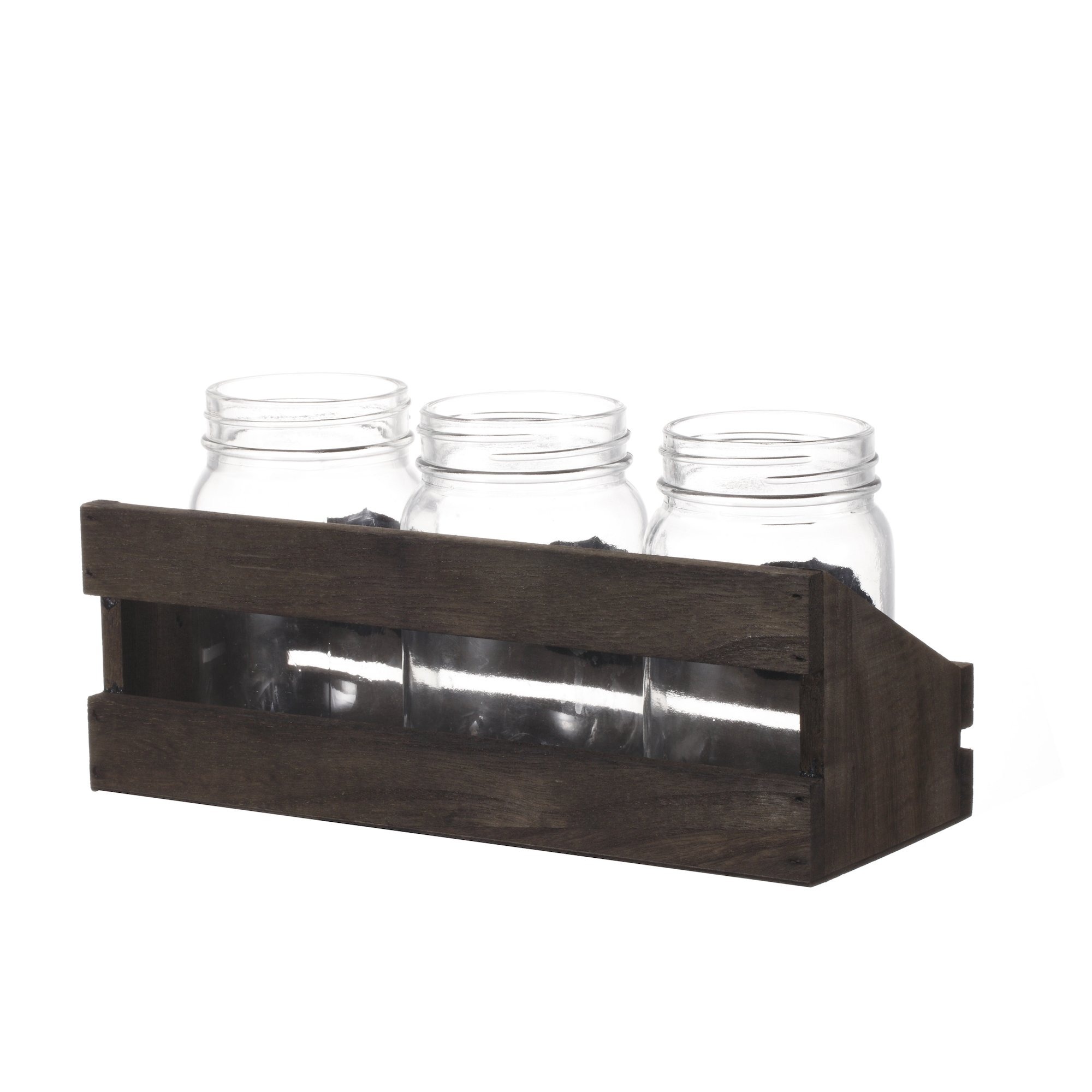 V-More Bud Vase with Chicken Wire Basket V-More Rustic Glass Mason Jar with Chalkboard Label and Wooden Tray 6.5-inch Tall For Home Decor Wedding Party Celebration by V-More Bud Vase with Chicken Wire Basket (Image #4)