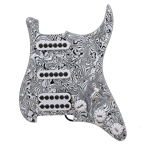 BQLZR negro blanco ZEBRA color SSH de 3 capas Guitarra eléctrica golpeador precableado para pastilla para