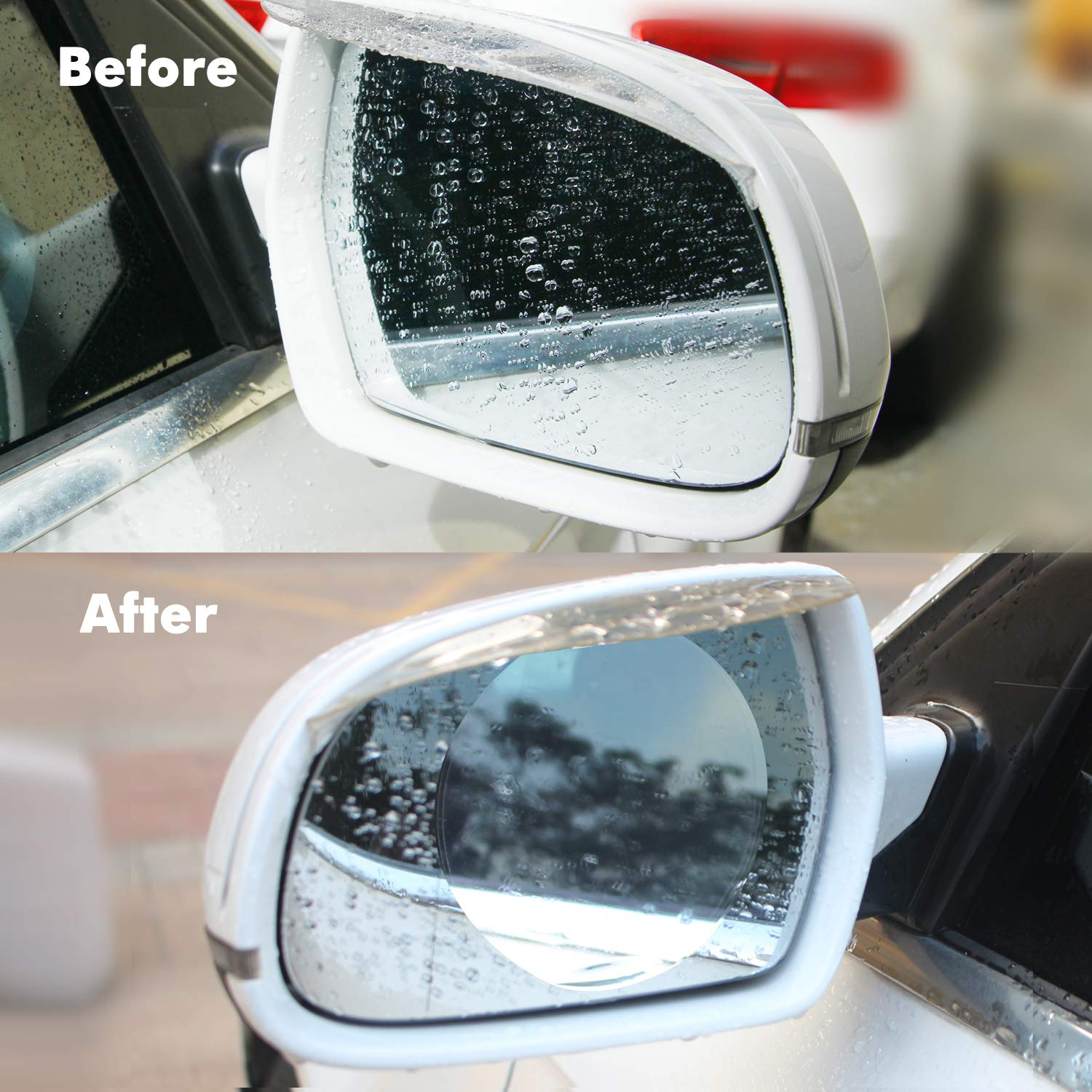 YIJINSHENG 4 PCS Car Rearview Mirror Nano Film,Universal Anti-fog Waterproof Film Window Clear HD Film round Rainproof,Anti-glare,Anti-scratch,Rear View Mirror Protective Film