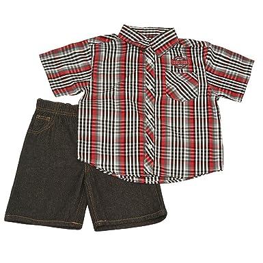51080d2fc06 Quad Since 1976 Seven Little Boys Red Black Plaid Short Sleeve Shirt 2 Pc  Shorts Outfit