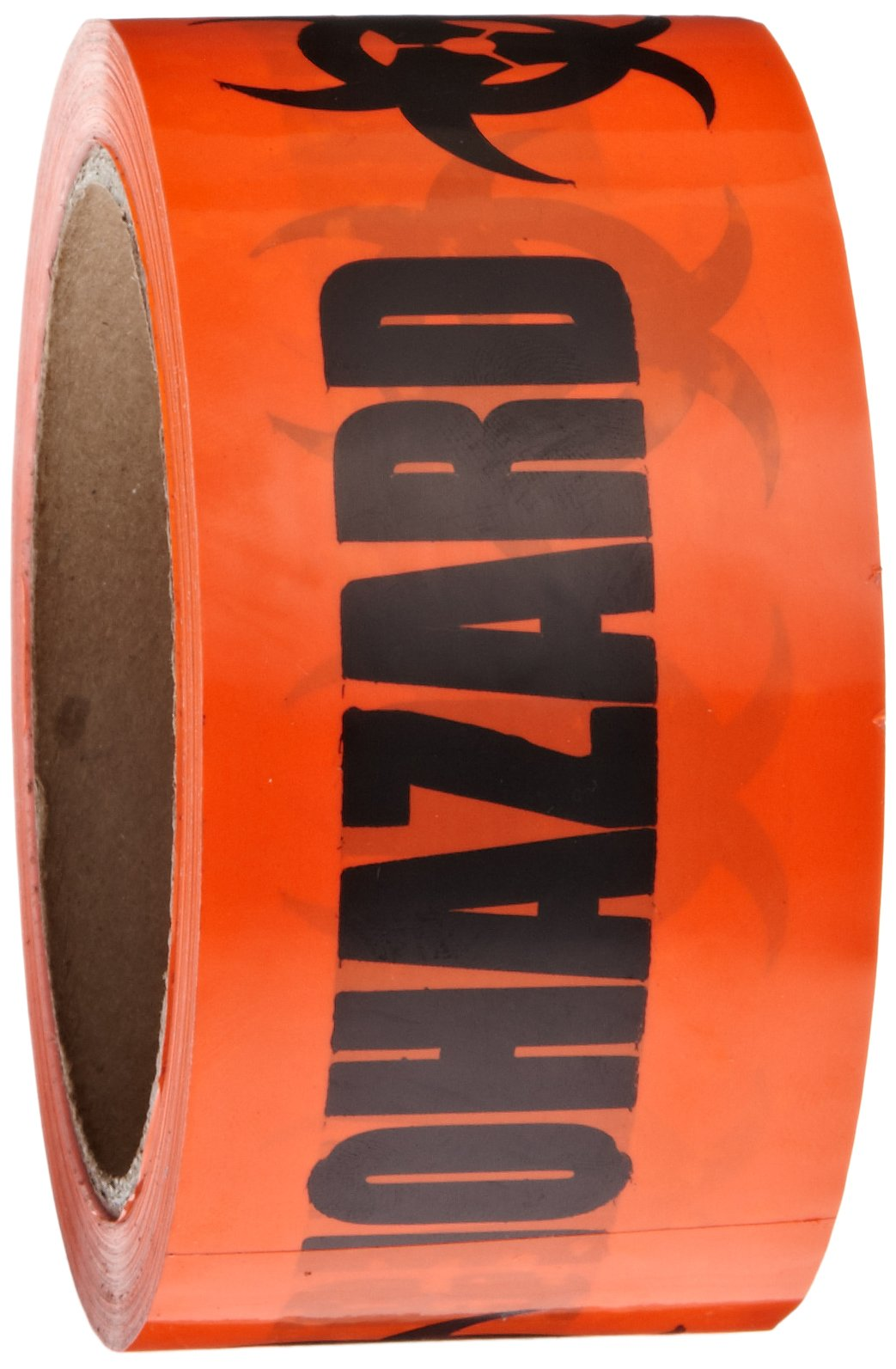 Roll Products 142-0004 PVC Film Biohazard Warning Tape with Black Imprint, Legend ''Biohazard'' (with Logo), 55 yd. Length x 2'' Width, 3'' Diameter Core Roll, for Identifying and Marking, Fluorescent Red/Orange