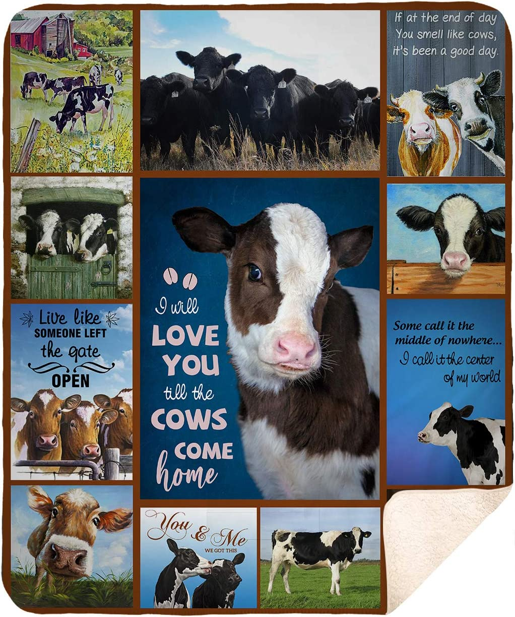 "DesDirect Store I Will Love You Till The Cows Come Home Blanket Fleece White Sherpa 50""x60"""