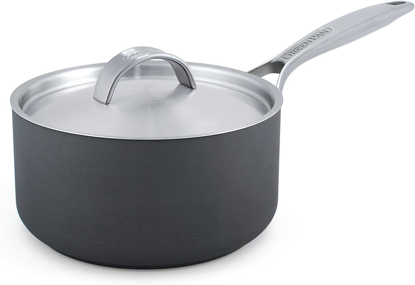 GreenPan Paris 2 Quart Non-Stick Dishwasher Safe Ceramic Covered Sauce Pan, Gray - CC000020-001