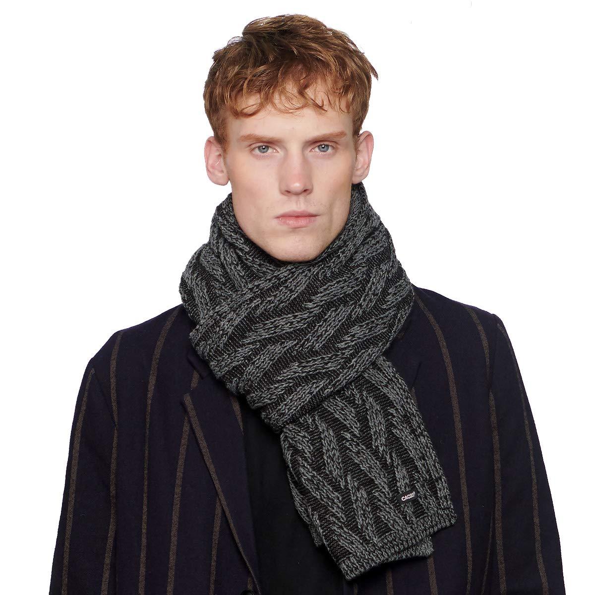 CACUSS Mens Scarf Blanket Scarf Black Scarf Fashion Warm Knitted Scarf Winter Scarfs 73.10'× 12.58'