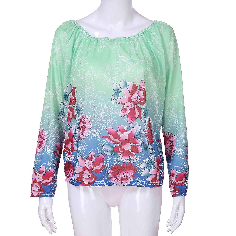 Camisa Casual para Mujer Impresión de Manga Larga Suelta Blusa Cuello Redondo Camisetas de Otoño ❤ Manadlian: Amazon.es: Ropa y accesorios