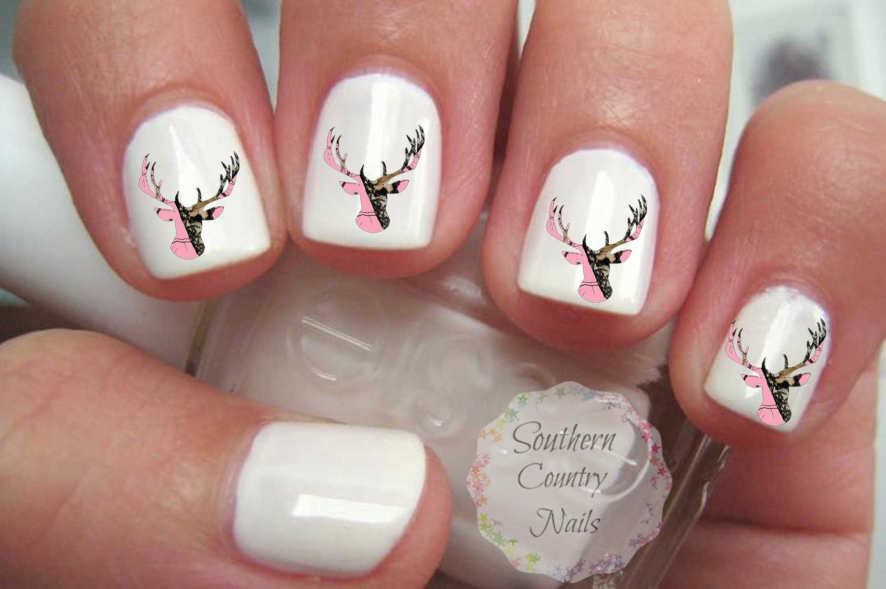 Amazon.com : Pink Camo Deer French Tips and Full Nail Art Decals ...