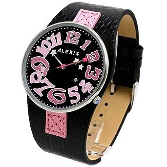 Alexis Mujer Reloj Japón Seiko PC21 Movimiento Negro Correa Cuero Genuino Negro Marcar Impermeable 1000A