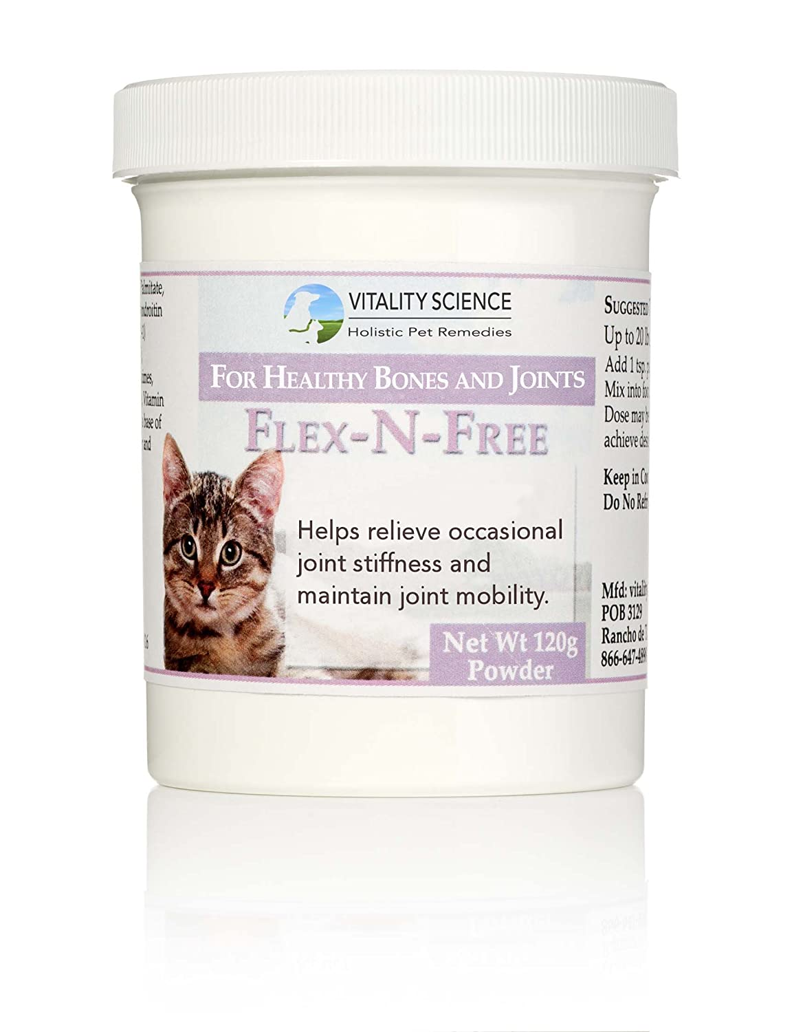 Vitality Science Flex N Free for Cats | Promotes Healthy Bones & Joints | Relieves Joint Stiffness | Maintains Joint Mobility | Reduces Inflammation | Builds Healthy Bone Tissue | 100% Safe & Natural