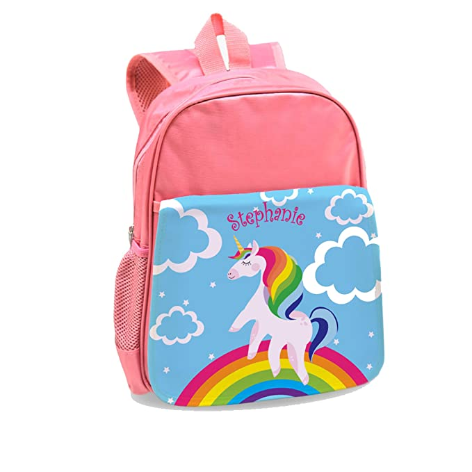 8625a8b4d8 Image Unavailable. Image not available for. Color  Rainbow Unicorn Custom  Kids Pink Backpack