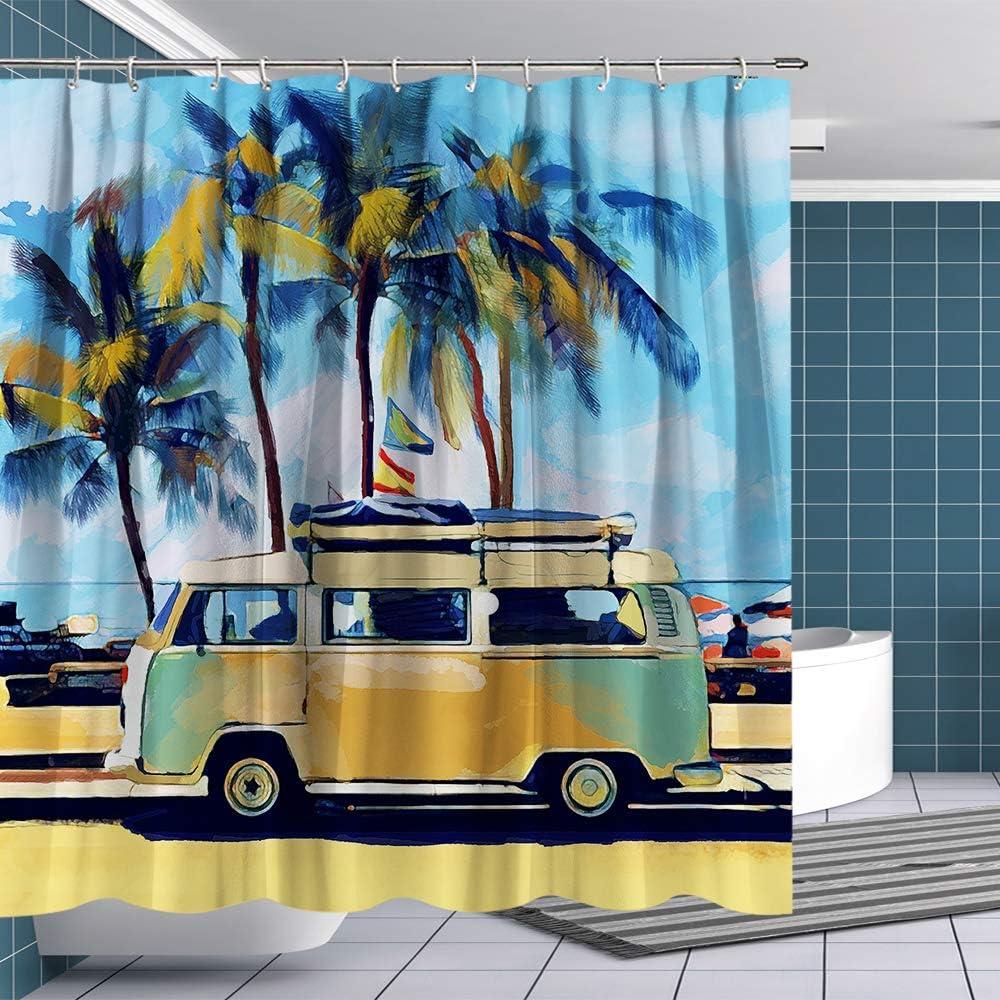 BTTY Shower Curtain Retro Tour Bus on Sandbeach Shower Curtain with Hooks Funny Fabric Bathroom Curtain Sets VW Bus Bathroom Decoration 70x70 Inches