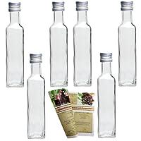 """gouveo 12 leere Glasflaschen 250 ml """"Maraska"""" incl. Schraubverschluss und Rezeptbroschüre, Eckig, Likörflasche Schnapsflasche, Essigflasche, Ölflasche"""