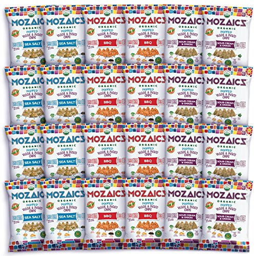 Mozaics Organic Popped Veggie & Potato Chips- Healthy snack~100 calorie snack, better than veggie straws or stix - gluten free - 0.75oz single serve bags (Best Sellers, 24-count)