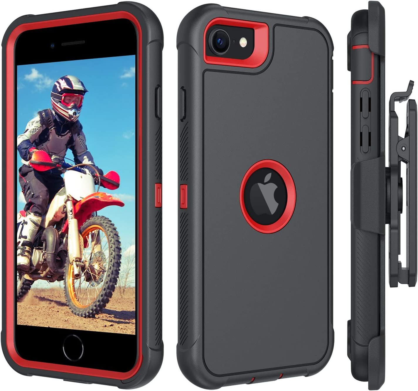 """BENTOBEN iPhone SE 2020 Case, Heavy Duty [3 Layers] Shockproof Full Body Rugged Hybrid Protective Case for Apple iPhone SE 2nd Generation 4.7"""" 2020 with Kickstand Belt Clip Holster Cover, Black&Red"""