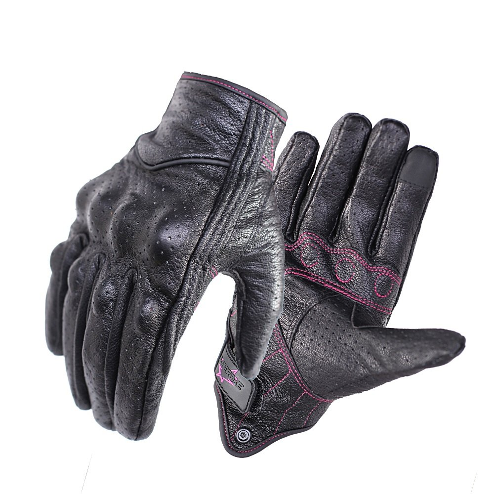Full finger Leather Motorcycle Gloves For Ladies Phone Touch Perforated Armored Motorbike Gloves (Rose Line -Perforated, S)