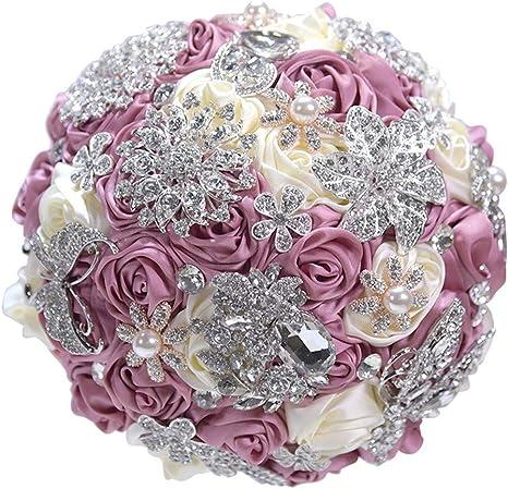 Gorgeous Crystal Rhinestone Gold Flower Bouquet Brooch Pin Wedding Bridal Gift