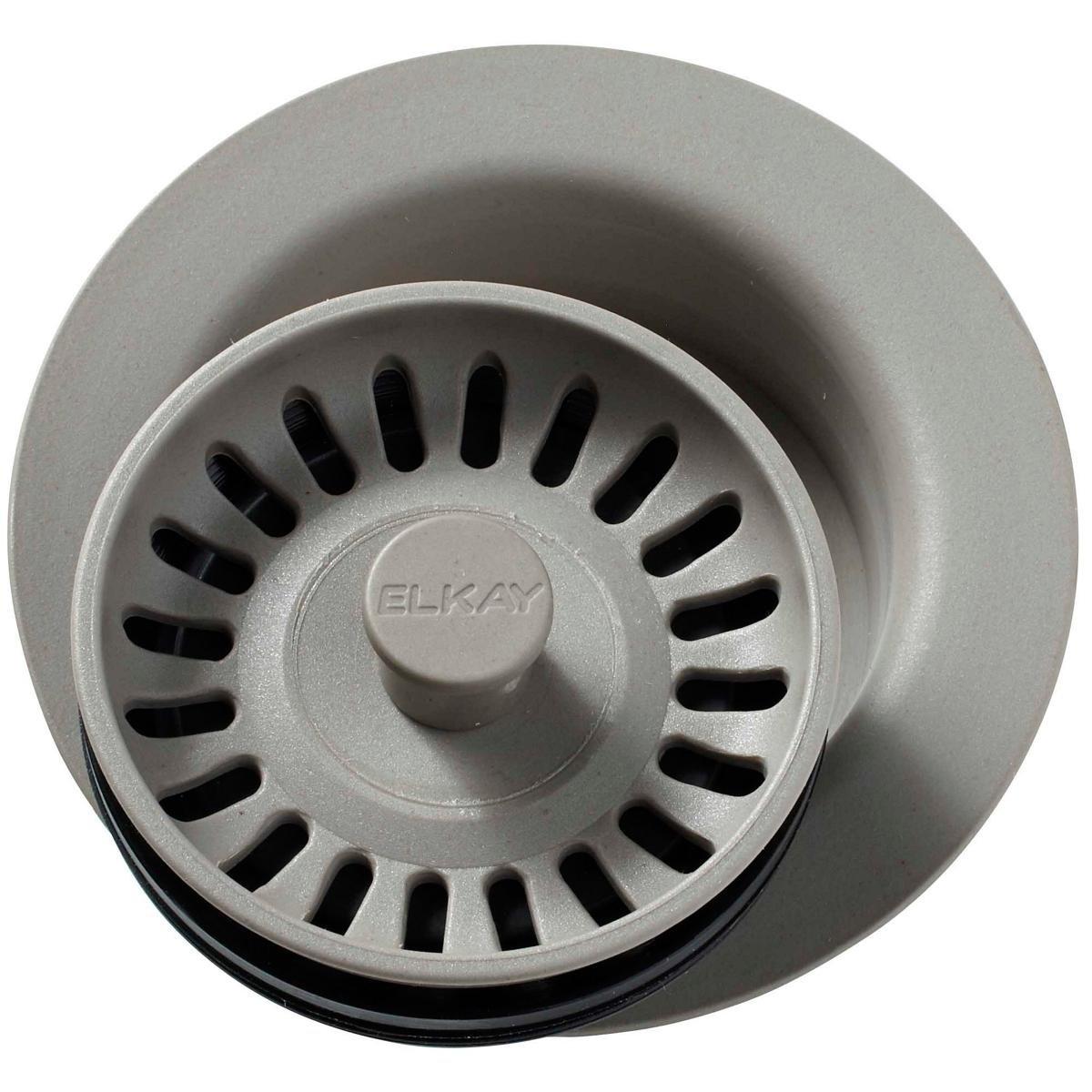 Elkay LKQD35GR Greige Polymer Disposer Flange with Removable Basket Strainer and Rubber Stopper by Elkay