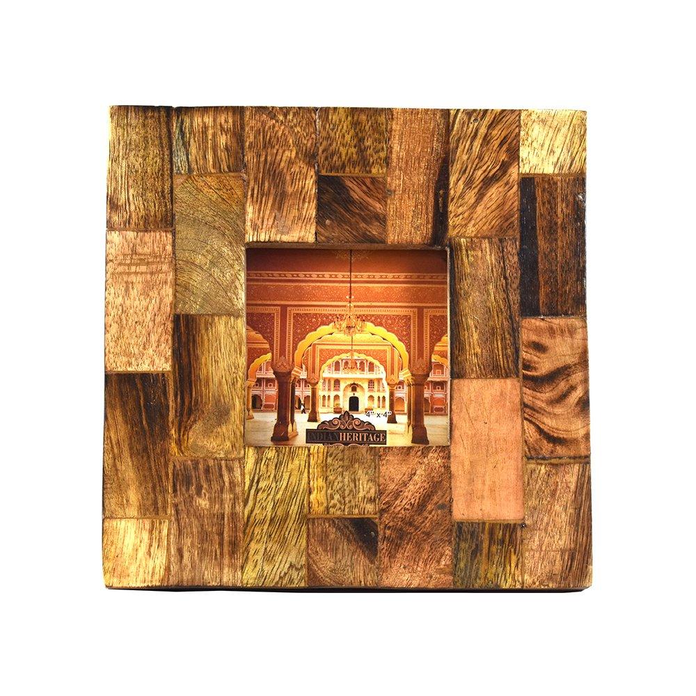 Indian Heritage Wooden Photo Frame 4x4 Mango Wood Block Design in Dark wood Finish