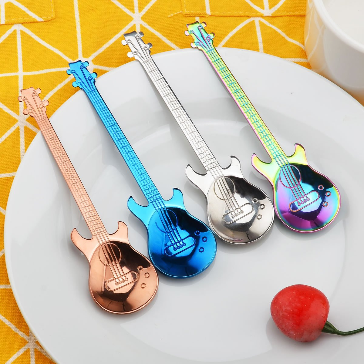 Oumosi Guitar Shaped Stainless steel Coffee Spoon Demitasse spoons dessert spoons Sugar Spoon Kitchen Cute Utensil Pack of 4