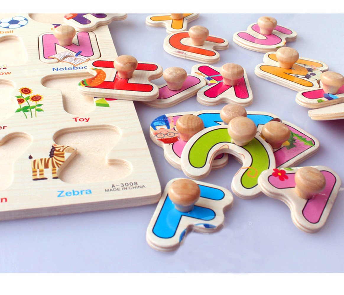 YOOMUN 4PCS 30cm Kid Hand Grasp Wooden Peg Puzzle Toy Jigsaw Bundle Shape Toys and Games for Age 2-7 Year Olds Child Children Boys Girls- Number, Village, Car and Animal