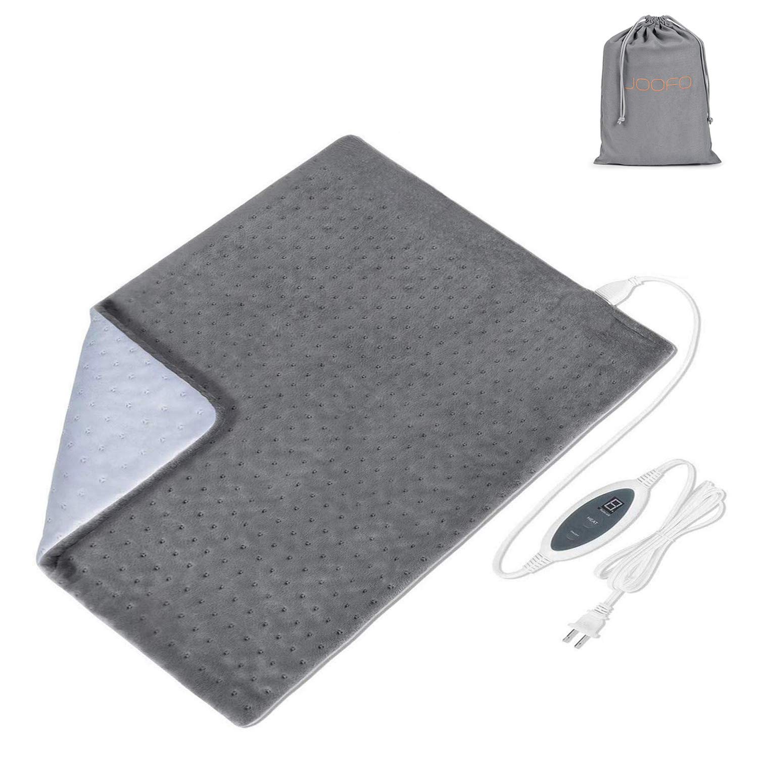 """Joofo Heating Pad for Back Pain and Cramps Relief - [20""""x24""""], Fast-Heating, 4 Temperature Settings, Moist Heat Therapy Option, Auto-Off and Machine Washable, XXL Ultra-Soft Heat Therapy Pad"""