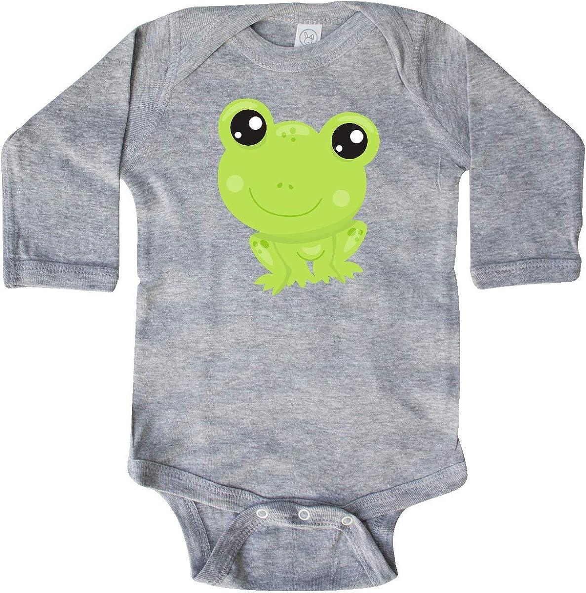 inktastic Cute Little Frog Kawaii Frog Green Frog Long Sleeve Creeper