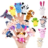 Biging 16 Pieces Finger Puppets Set Including 10 Pieces Animal and 6 Pieces People Family Members Educational Toys