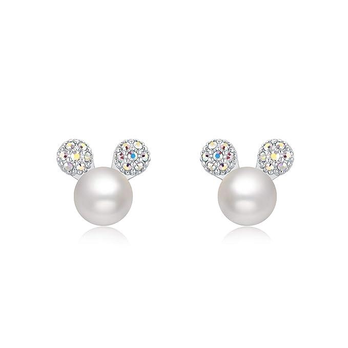 Ailin & Co. Lucky Mickey Mouse Pendientes de perlas de plata de ley 925 para mujeres y niñas, fabricado con cristal de Swarovski y perla