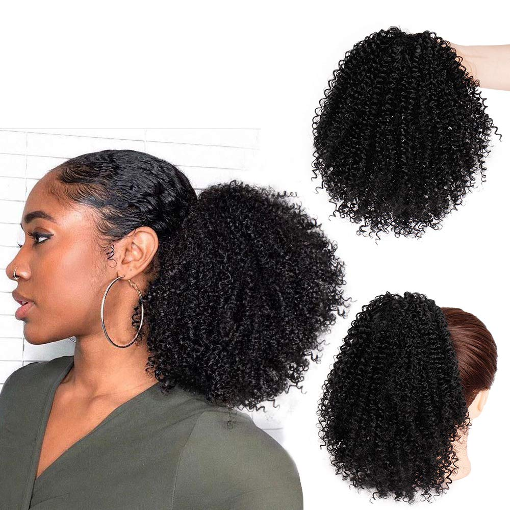 Vigorous Short Afro Curly Ponytail Hair Piece for African American Black Women Ponytail Extension Afro Drawstring Curly Ponytailfor Women by Vigorous