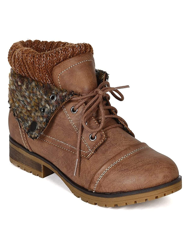 Amazon.com   Refresh BH47 Women Leatherette Sweater Knit Fold Down ...