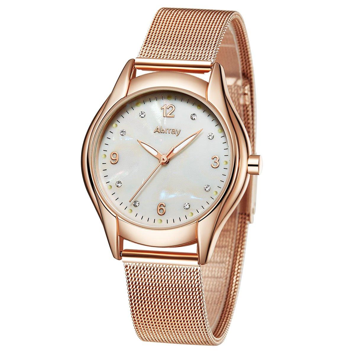 Abrray Luxe Or rose en maille Bracelet femme à quartz Montre-bracelet pour cadeau Graduation anniversaire
