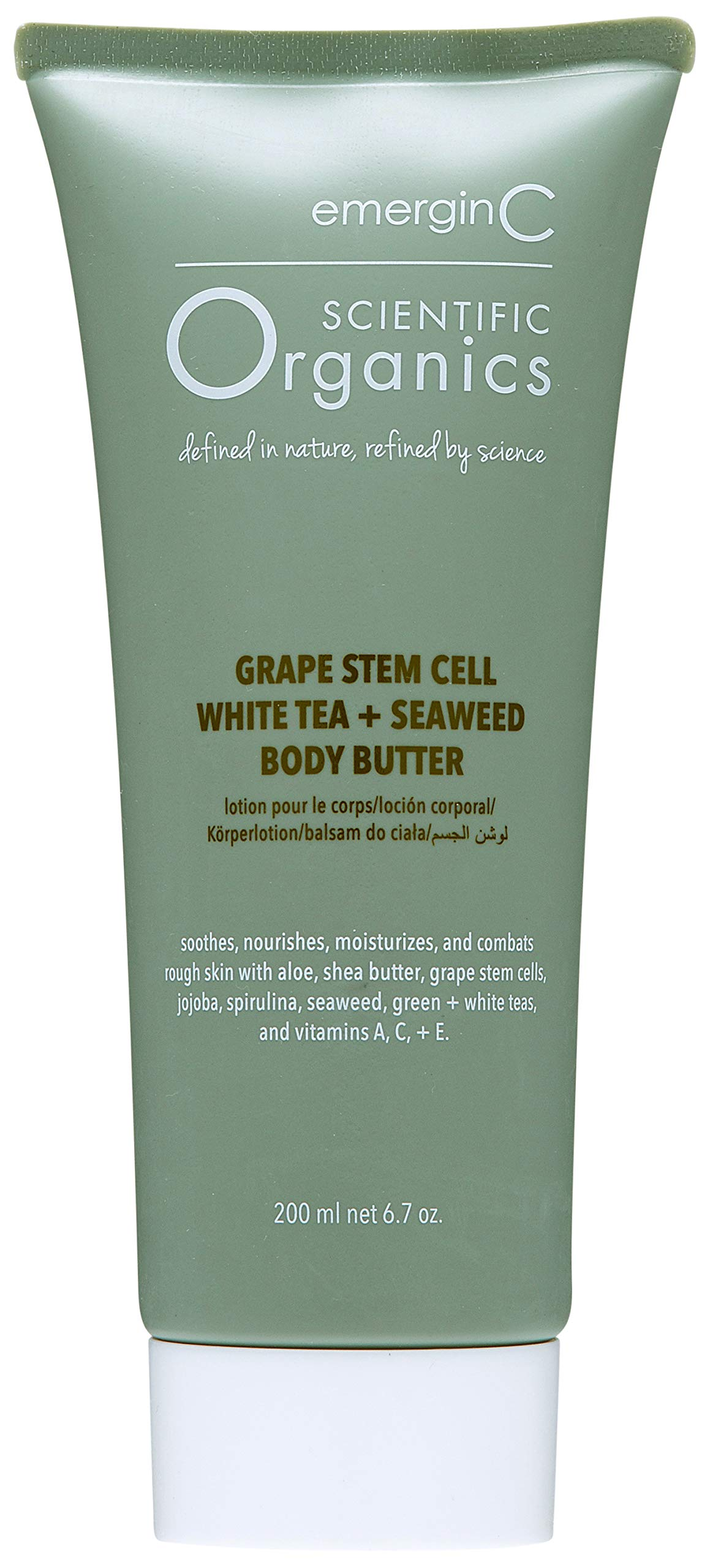 emerginC Scientific Organics - Grape Stem Cell, White Tea + Seaweed Body Butter, Nourishing Cream for Dry Skin (6.7oz / 200ml)