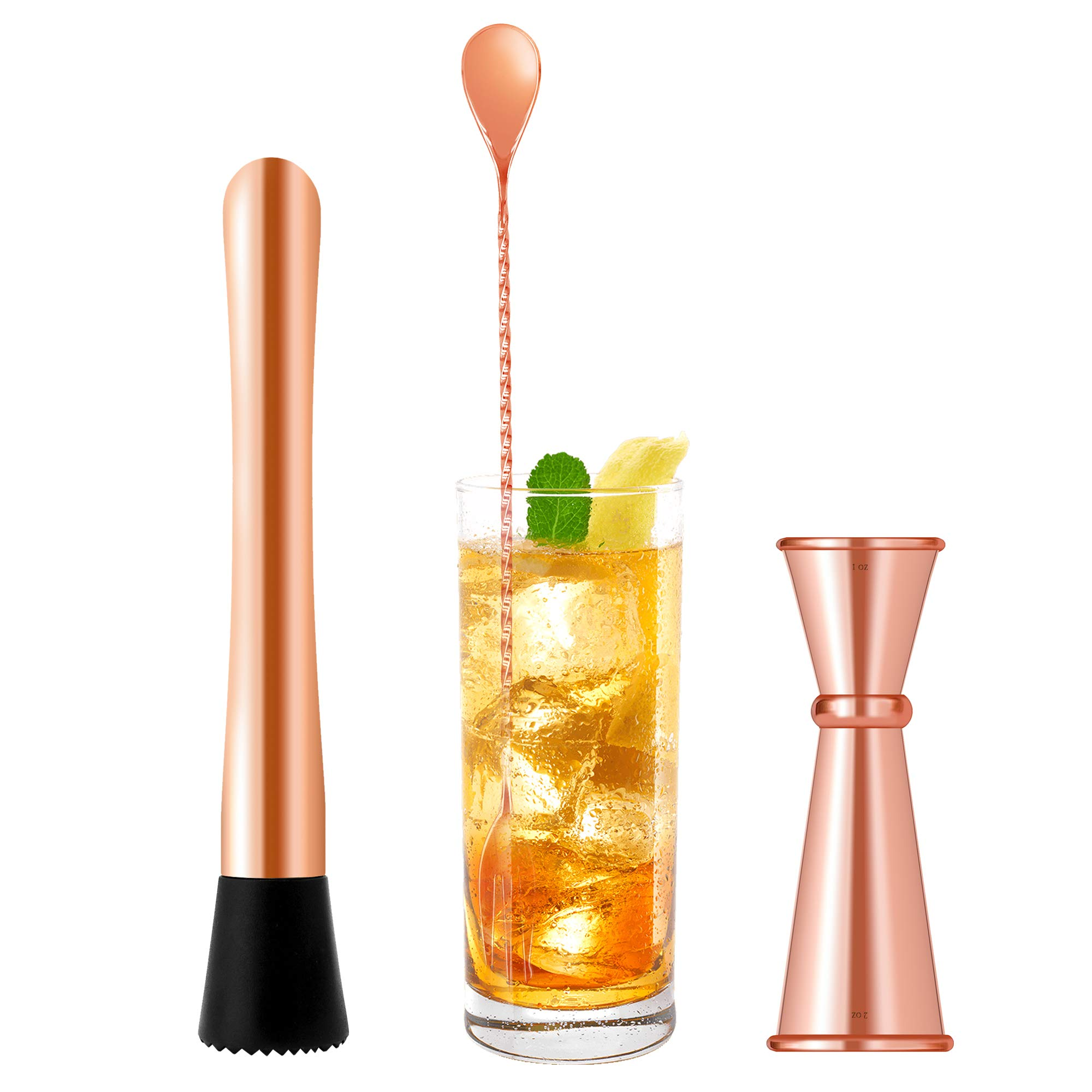 Homestia 3 PIECE Muddler Set Stainless Steel Cocktail Muddler with Double Jigger, Bar Spoon Mojito Bar Tool Copper by Homestia (Image #1)