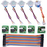 kuman Stepper Motor for Arduino 5 Sets 28BYJ-48 ULN2003 5V Stepper Motor + ULN2003 Driver Board + Better Dupont Wire 40pin Ma