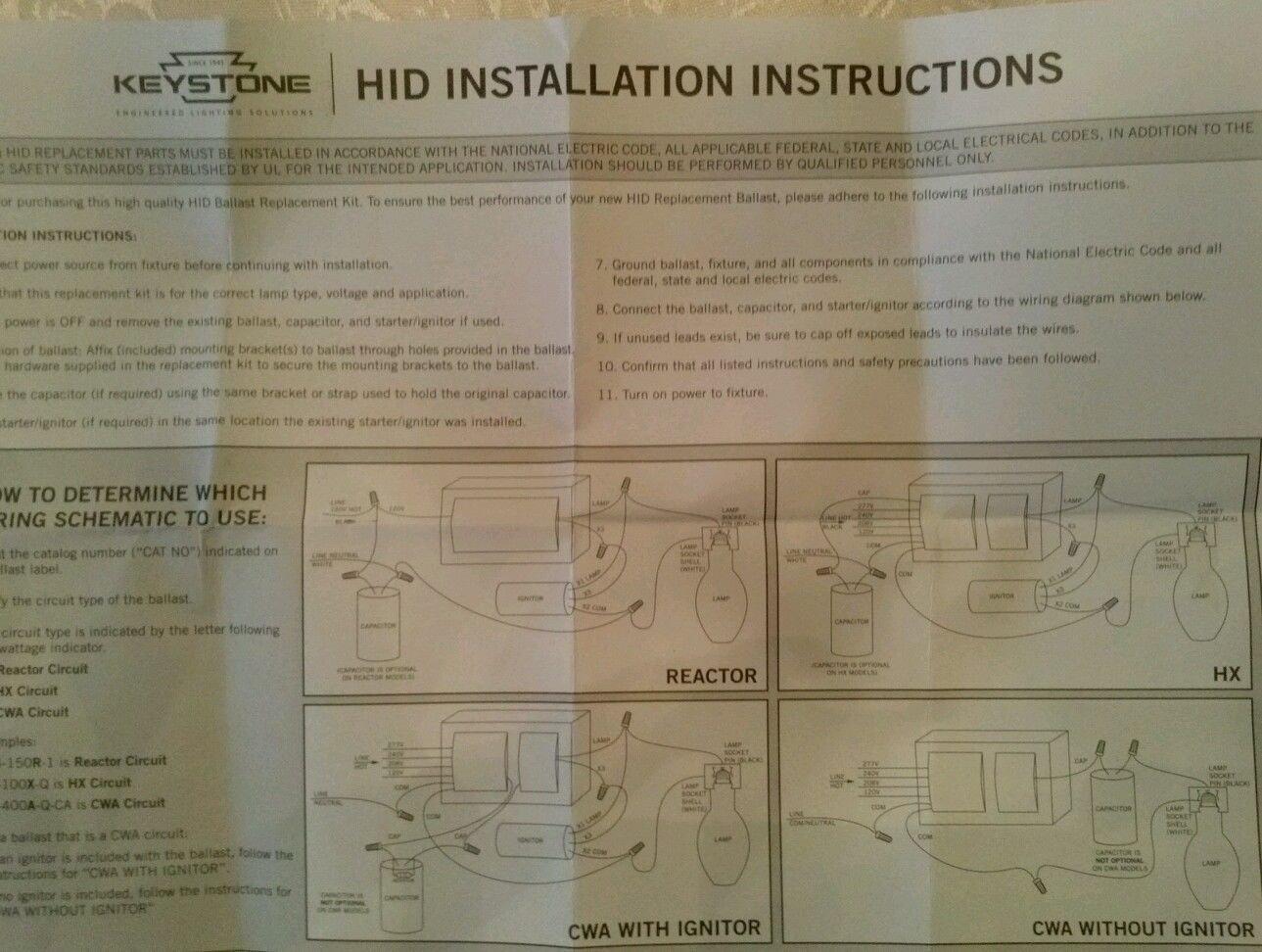 Keystone Technologies Mh 100x Q Kit Metal Halide Ballast Quad Tap 480 Volt Wiring Diagram 100w 303335