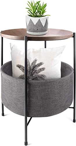 AINATU Round Side Table End Table with Fabric Storage Basket,Metal Frame Wooden Top Accent Table for Living Room,Bedside,Sofa,Office,Small Space