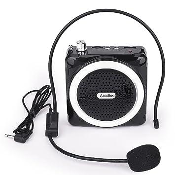 arssilee inalámbrico negro amplificador de la voz con micrófono Personal batería altavoz con cable auriculares para